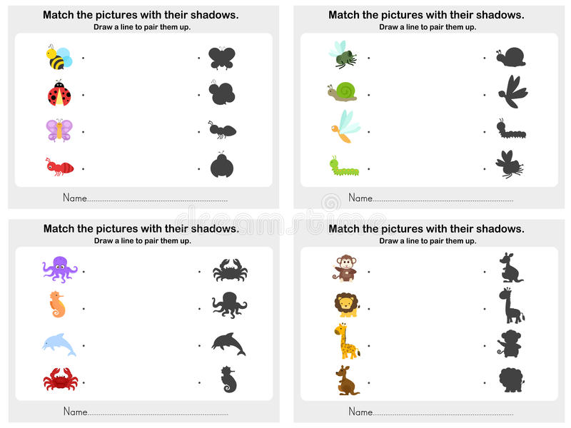 Zapałczany zwierzęcy cienia 4 prześcieradło - Worksheet dla edukaci royalty ilustracja