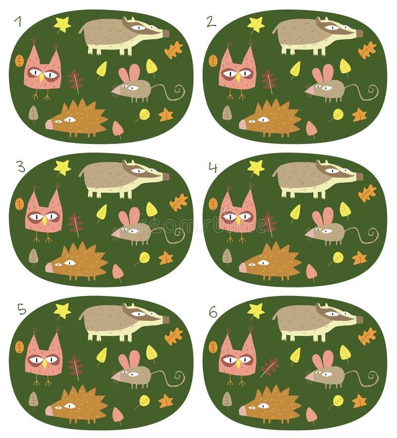 Zapałczanych par Wizualna gra: Lasowi zwierzęta royalty ilustracja