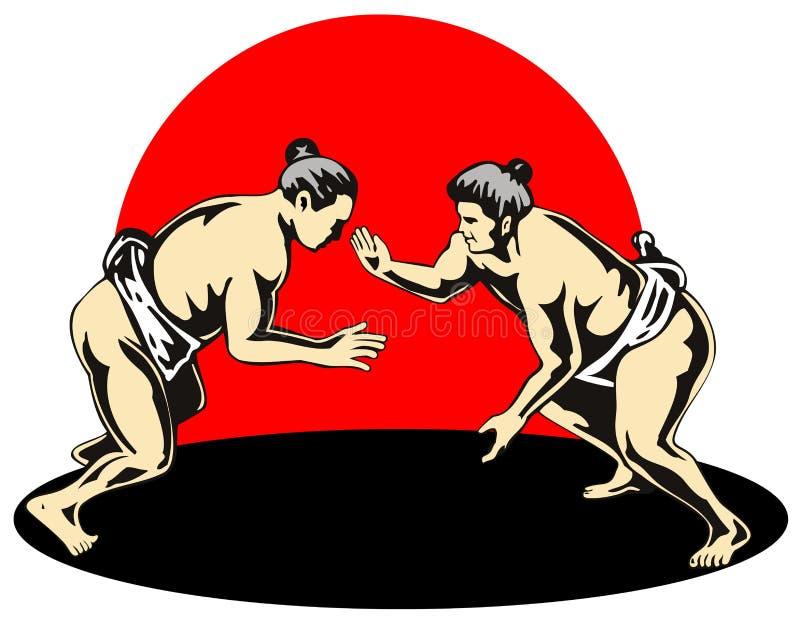 zapaśnicy sumo royalty ilustracja