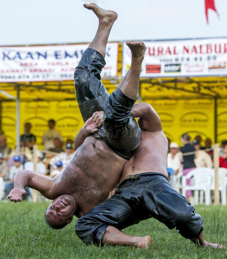 Zapaśnicza akcja od Velimese turecczyzny oleju Zapaśniczego festiwalu w Turcja zdjęcia royalty free