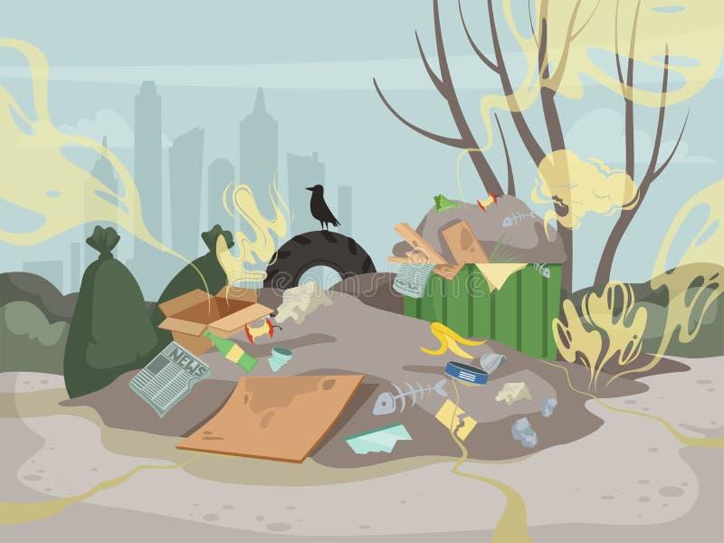 Zapach Toksyczne śmieciowe górskie śmieci złe środowisko wysypiska chmury wektorowe tło royalty ilustracja