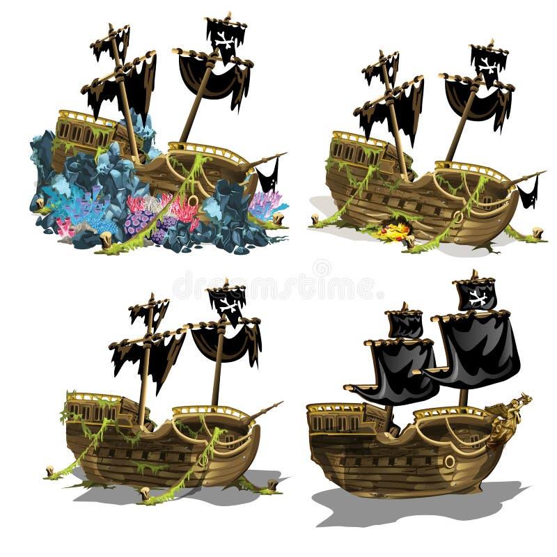 Zapadnięci pirata statku przerastający koralowi polipy Scena przyrost i formacja rafy koralowa odizolowywać na białym tle ilustracji
