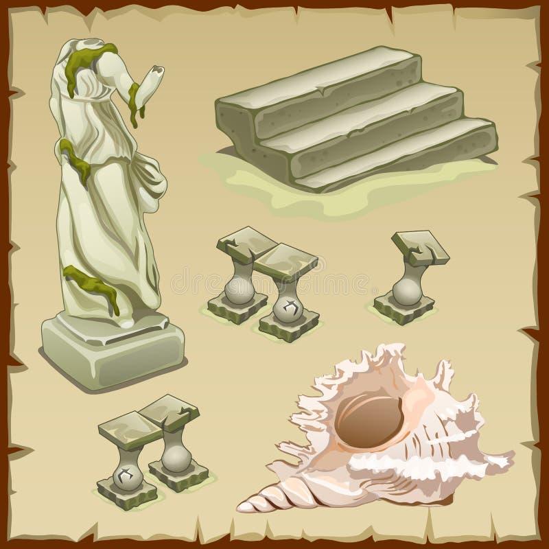 Zapadnięci przedmioty architektura i skorupa, sześć elementów ilustracji