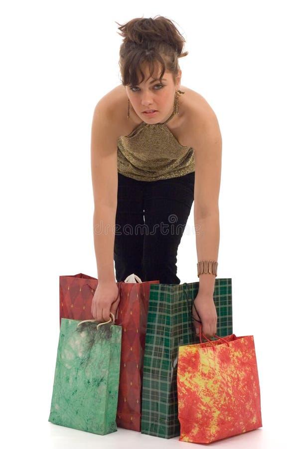 zapakuj gospodarstwa dziewczyny na zakupy obrazy royalty free