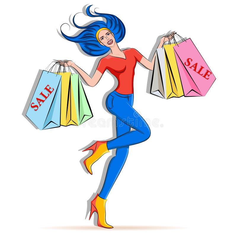 zapakuj szczęśliwe zakupów gospodarstwa dziewczyny royalty ilustracja