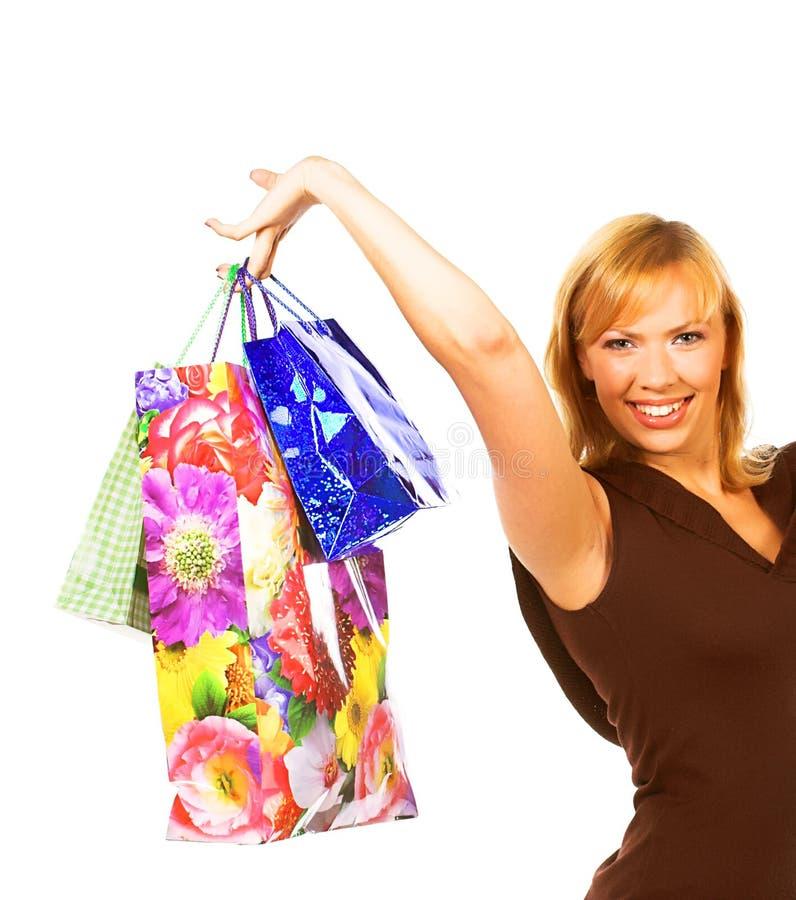 zapakuj szczęśliwe zakupy dziewczyna obrazy royalty free