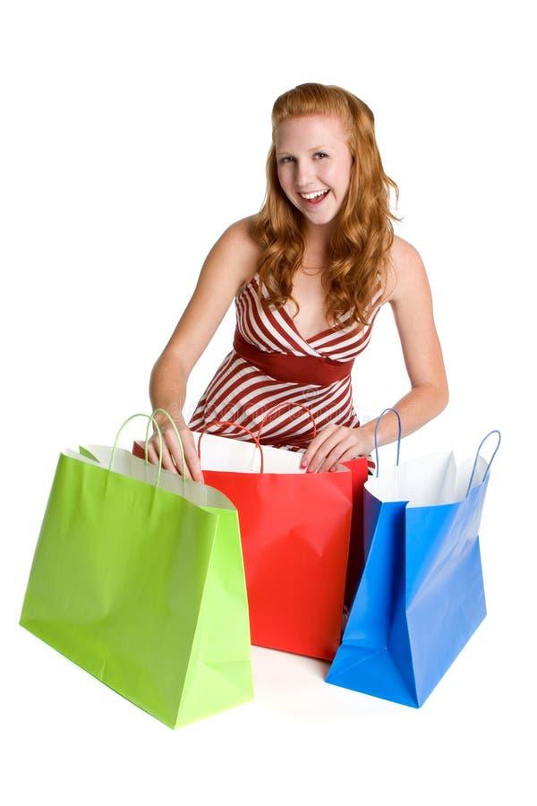 zapakuj szczęśliwe zakupy dziewczyna zdjęcia royalty free