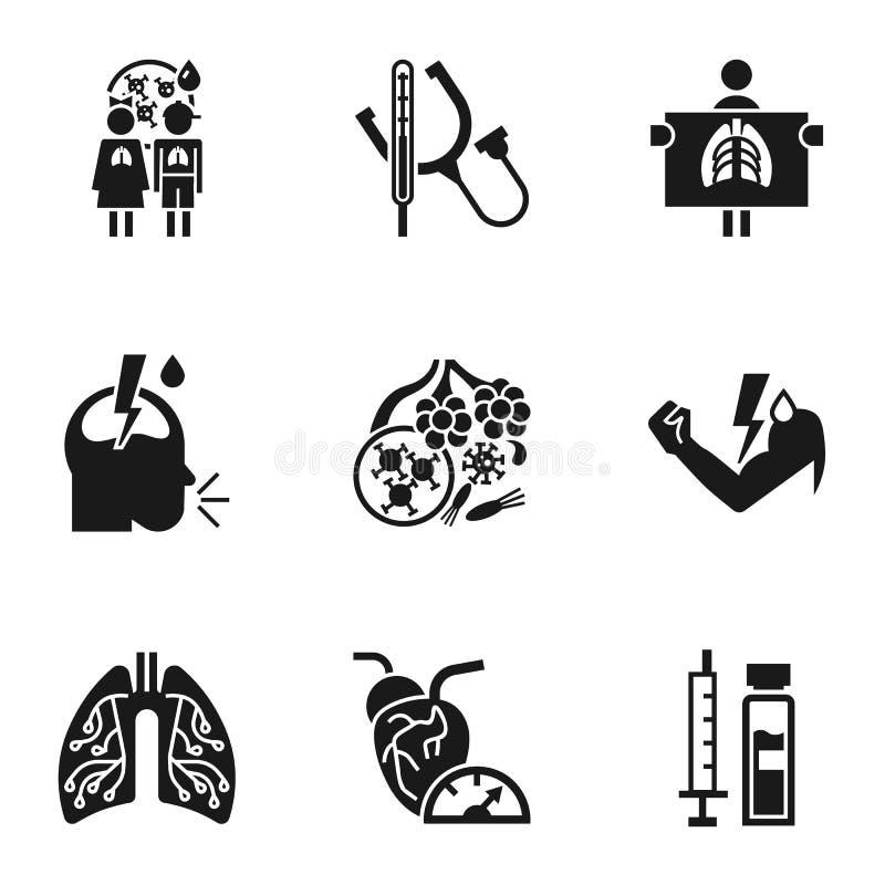 Zapalenie płuc infekcji ikony set, prosty styl ilustracja wektor