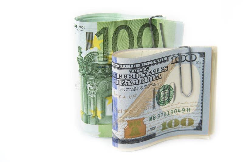 Zapas dolary i euro na bielu zdjęcie stock