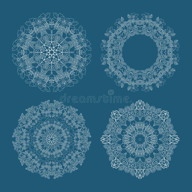 Zapas kurendy ustalony wzór zapętlający kwitnie błękitnego tło royalty ilustracja