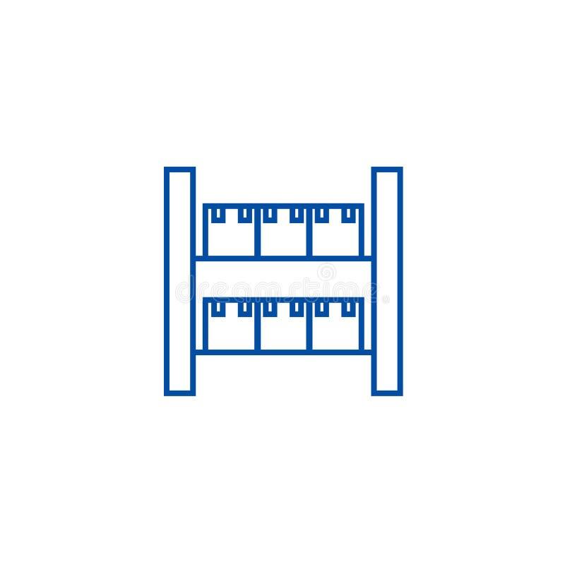 Zapas, przemysłowy magazyn linii ikony pojęcie Zapas, przemysłowy magazynowy płaski wektorowy symbol, znak, kontur royalty ilustracja
