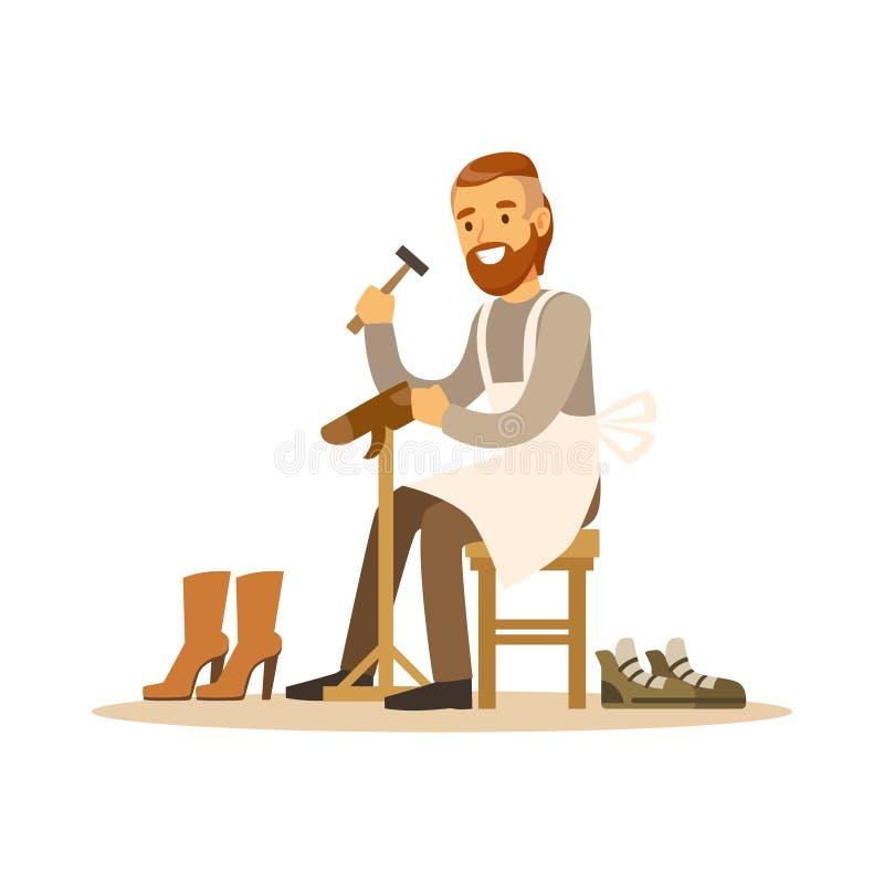 Zapatero que repara un zapato en el ejemplo colorido del vector del carácter del taller libre illustration