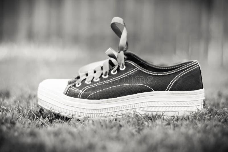 Zapatilla de deporte blanco y negro foto de archivo