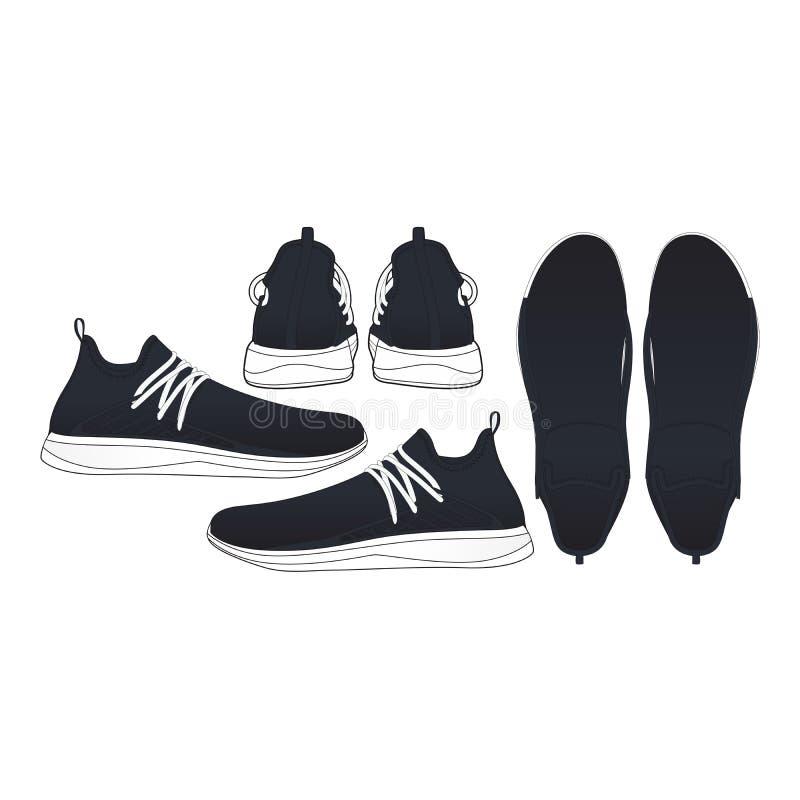 Zapatilla de deporte de los zapatos de la maqueta, outsole, ize compatible blanco, lado hacia fuera y adentro, superior e inferio fotos de archivo libres de regalías