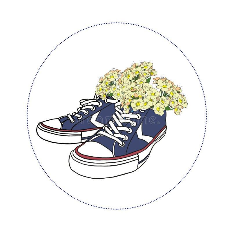 Zapatillas de deporte azules con las flores en el marco redondo en el fondo blanco Para la tarjeta de felicitación, el cartel, o  imagen de archivo libre de regalías