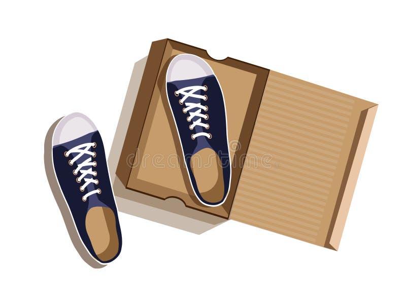 Zapatillas de deporte azules en una caja de cartón ilustración del vector