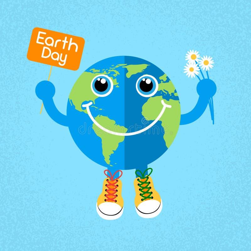 Zapatillas de deporte de los zapatos de los instructores del desgaste del globo del Día de la Tierra ilustración del vector