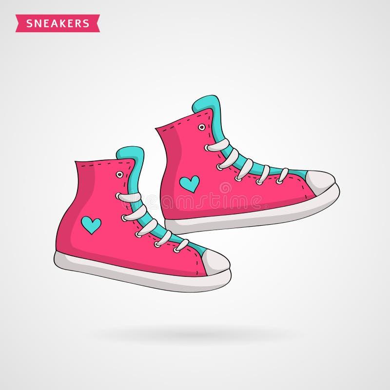 Zapatillas de deporte del ` s de las mujeres Ilustración drenada mano del vector ilustración del vector