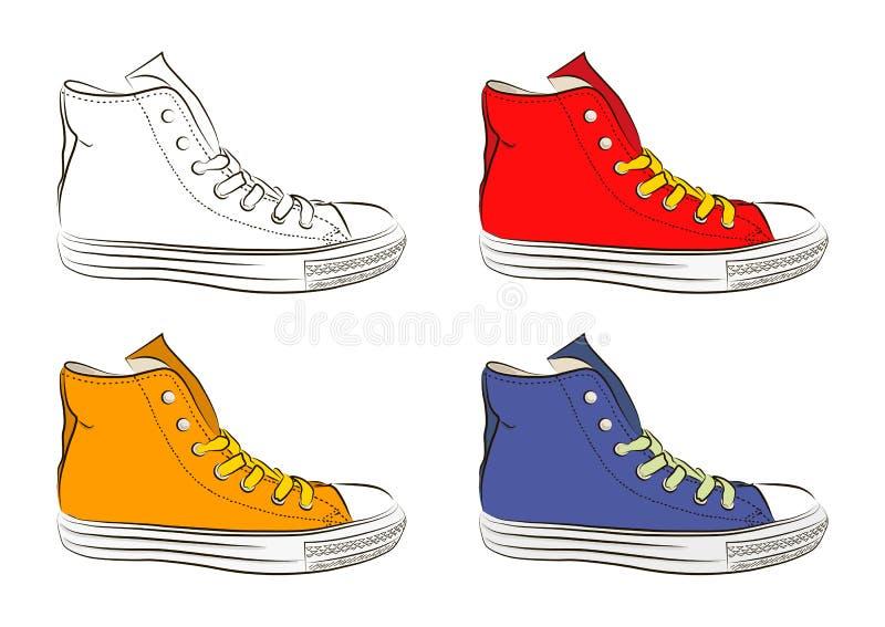 Zapatillas de deporte dibujadas mano, zapatos de gimnasio Ilustración del vector libre illustration