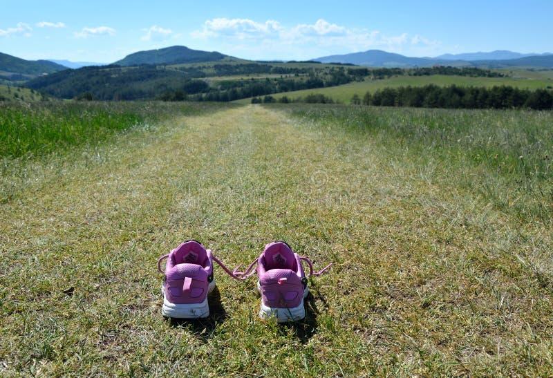 Zapatillas de deporte en el camino de la montaña fotografía de archivo