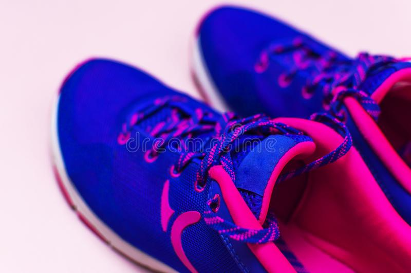 Zapatillas de deporte femeninas rosadas violetas ultra azules en la opinión superior puesta plano rosada en colores pastel del fo foto de archivo libre de regalías