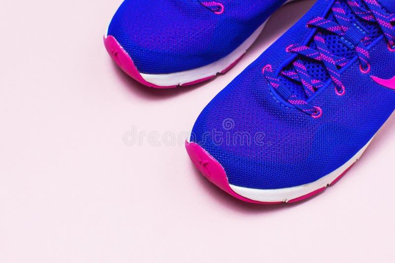 Zapatillas de deporte femeninas rosadas violetas ultra azules en la opinión superior puesta plano rosada en colores pastel del fo fotografía de archivo libre de regalías