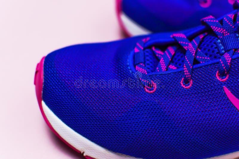 Zapatillas de deporte femeninas rosadas violetas ultra azules en la opinión superior puesta plano rosada en colores pastel del fo foto de archivo
