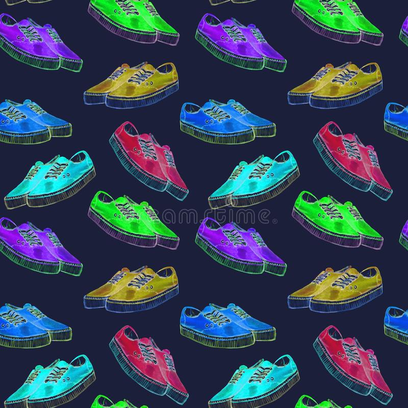Zapatillas de deporte modernas coloridas de la paleta de colores de neón brillante, modelo inconsútil en fondo azul marino libre illustration
