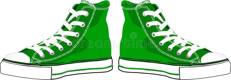 Zapatillas de deporte verdes stock de ilustración