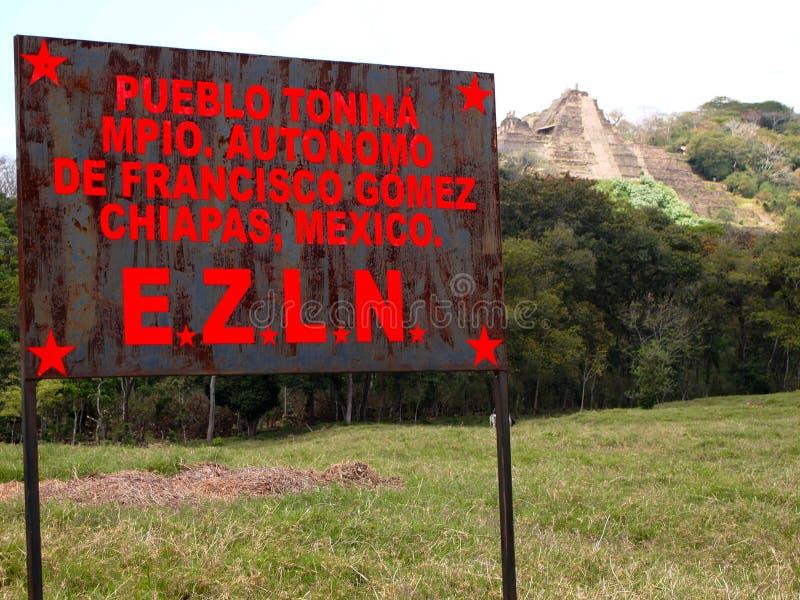 Zapatista billboard at the entrance to the Mayan Tonina ruins, Chiapas, Mexico. The Zapatista Army of National Liberation Ejército Zapatista de Liberación stock image