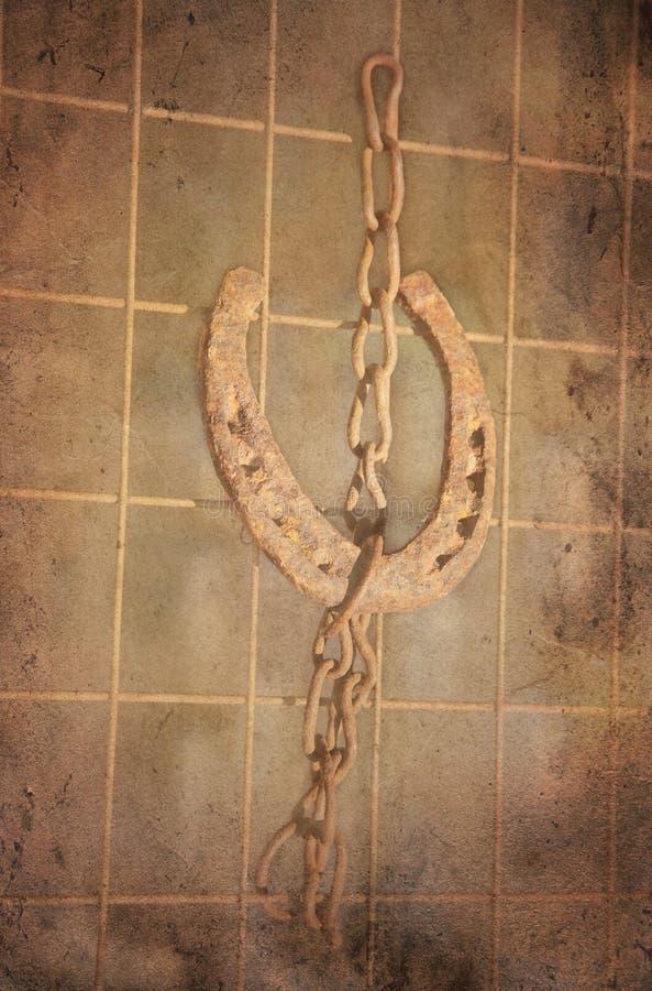 Zapato afortunado del caballo en un encadenamiento. foto de archivo libre de regalías