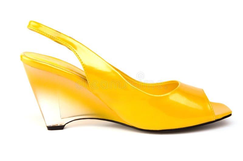 Zapato de la cuña de limón foto de archivo libre de regalías