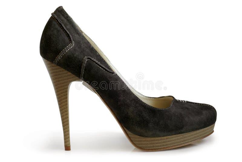 Zapato de las mujeres del ante fotografía de archivo