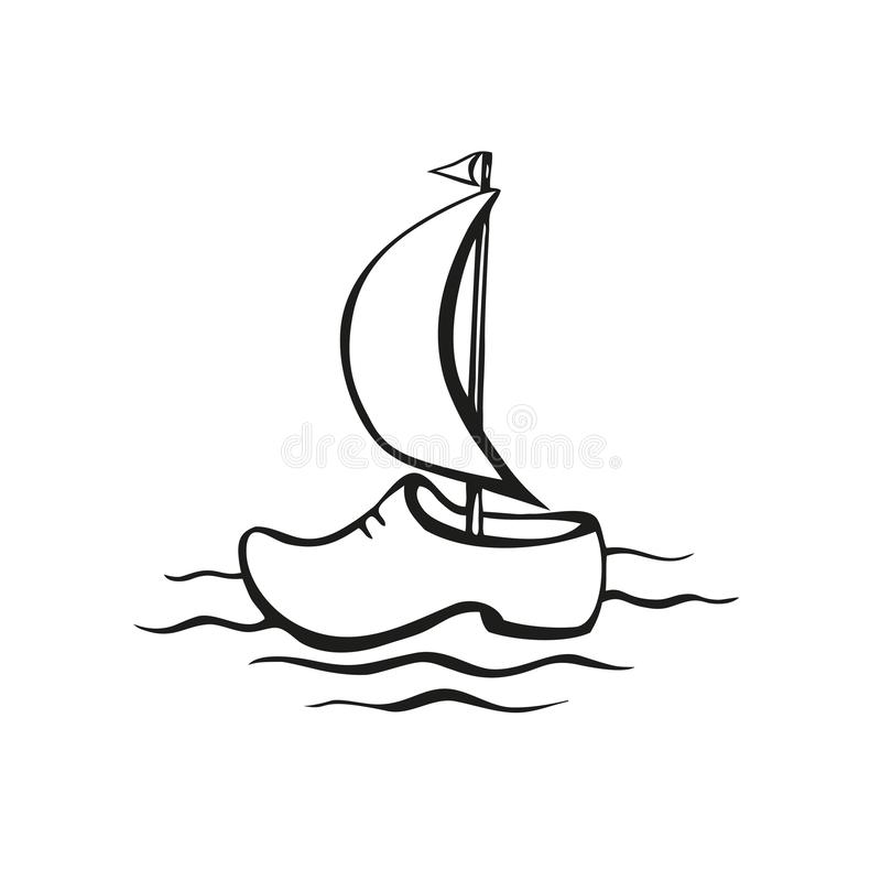 Zapato de madera El símbolo tradicional de Holanda bajo la forma de velero navegante Engrana el icono ilustración del vector