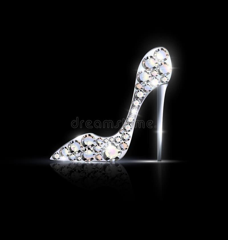 Zapato de plata abstracto de la joyería stock de ilustración