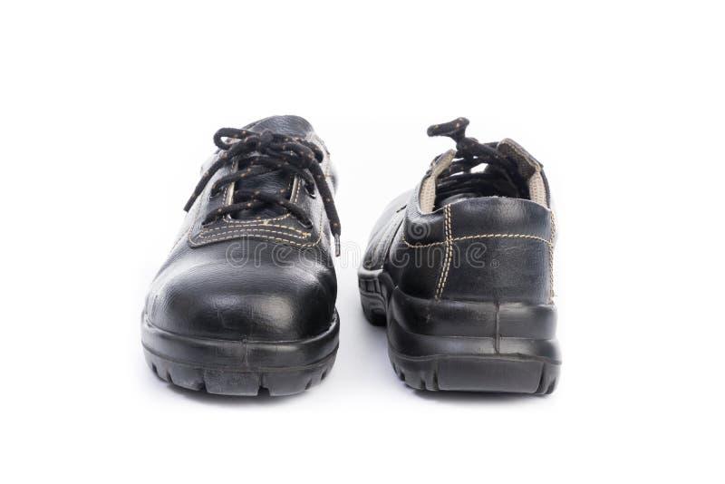 Zapato de seguridad negro imagen de archivo libre de regalías