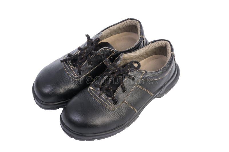 Zapato de seguridad negro aislado fotos de archivo libres de regalías