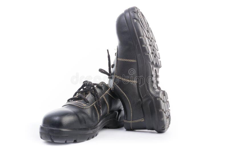 Zapato de seguridad negro aislado fotografía de archivo