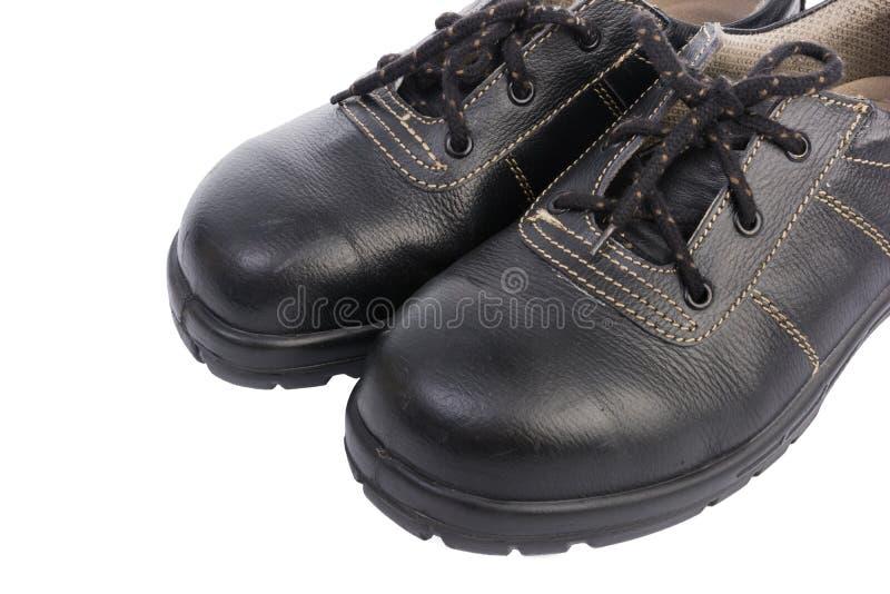 Zapato de seguridad negro aislado imagen de archivo libre de regalías
