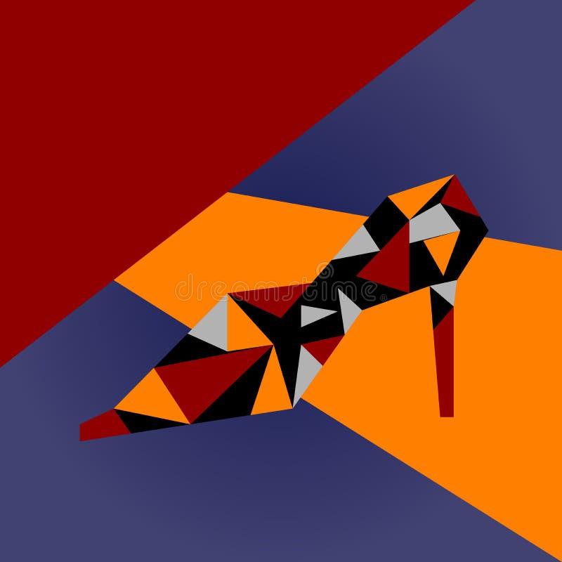 Zapato de tacón alto y modelo abstracto ilustración del vector