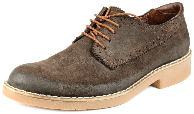 Zapato del ante de Brown de los hombres foto de archivo