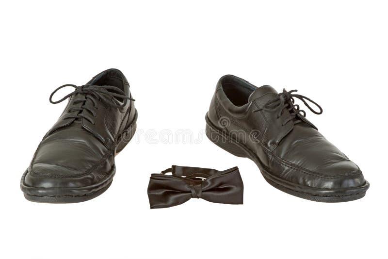 Zapato Del Hombre Y Pajarita Fotografía de archivo