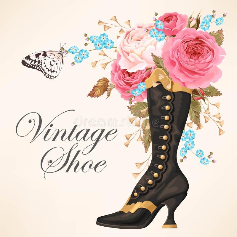Zapato del vintage con las rosas libre illustration