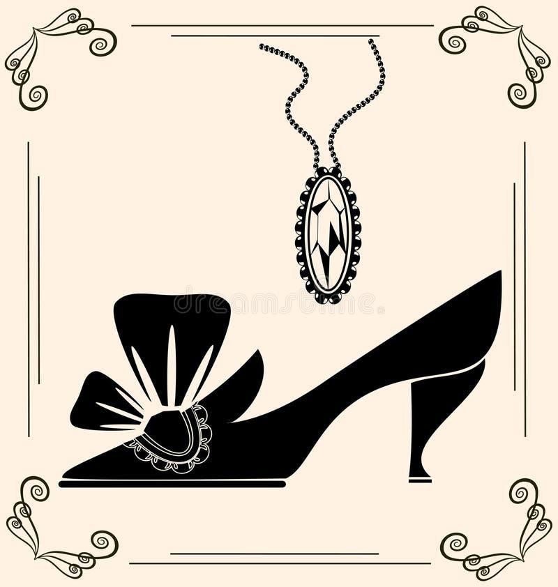 zapato del vintage de la dama libre illustration