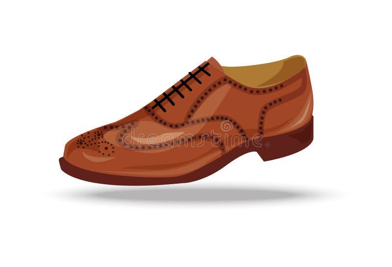 Zapato marrón claro, rojo o amarillo de Oxford stock de ilustración