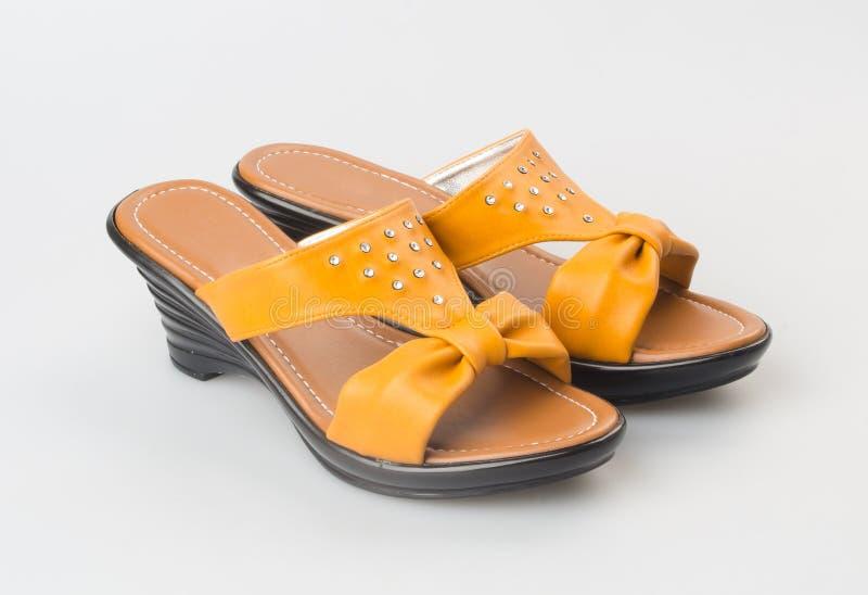 zapato o sandalia femenina de la moda en fondo fotografía de archivo libre de regalías