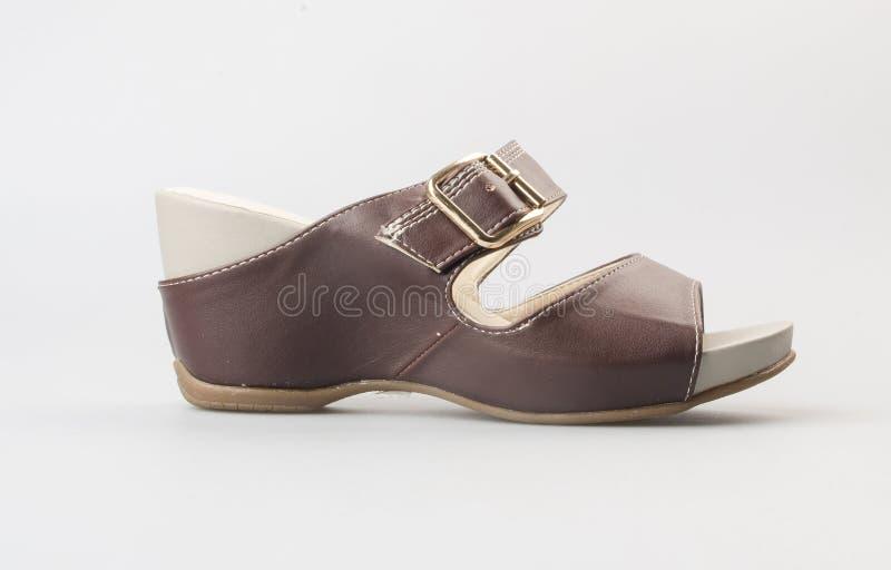 zapato o sandalia femenina de la moda en fondo imágenes de archivo libres de regalías