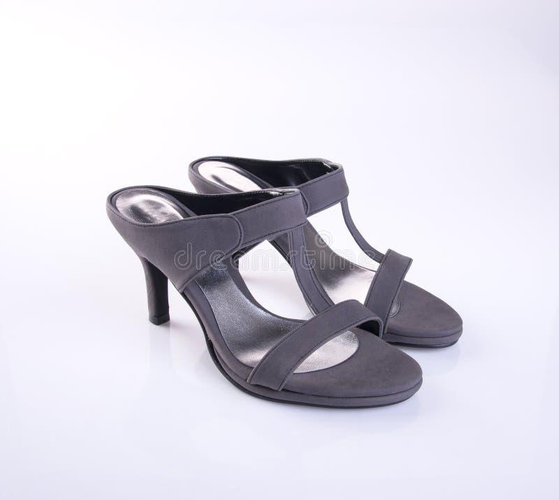 zapato o sandalia femenina de la moda en fondo fotos de archivo libres de regalías