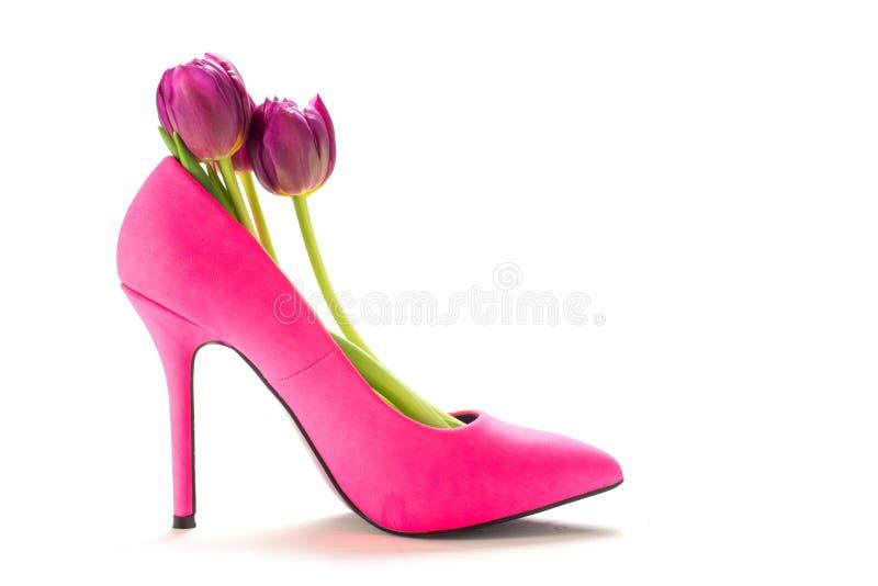 Zapato rosado del tacón alto de las señoras con los tulipanes dentro, aislado en blanco foto de archivo
