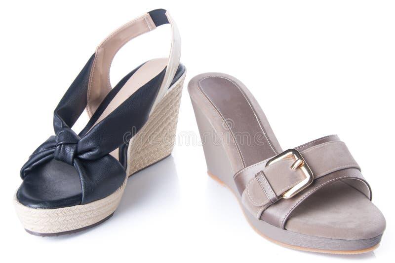 zapato sandalia de la mujer en un fondo foto de archivo libre de regalías